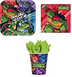 CAPRILO Lote de Cubiertos Infantiles Tortugas Ninja Mutantes (16 Vasos, 16 Platos y 20 Servilletas) .Vajillas y Complementos. Juguetes y Regalos de Cumpleaños, Bodas, Bautizos y Comuniones.