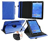 Emartbuy® Alcatel OneTouch Pixi 3 10 Pulgada Tablet Universal (9-10 Pulgada) Dark Azul Premium PU Leather 360 Grados Soporte Giratorio Cubierta Caso Wallet Folio Case + Azul Lápiz Óptico