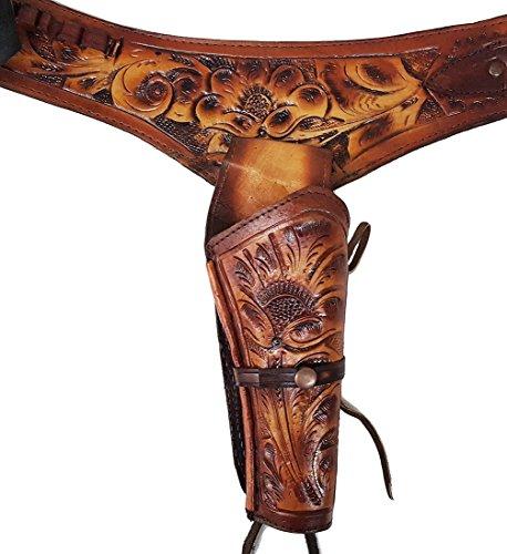 Modestone 44/45 Western Leather Holster Ceinture Pistolet Rig Revolver 44 Tan