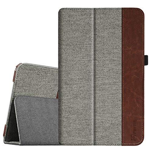 Fintie Folio Funda para Samsung Galaxy Tab E 9.6 - [Protección de Esquina] Slim Fit Carcasa con Función de Soporte para Modelo SM-T560 / T561, Tela Gris