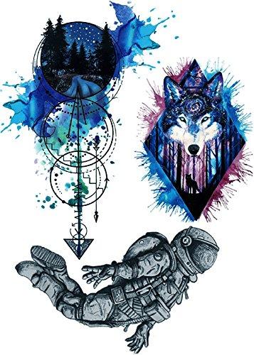 Tatouage animal Compas Astronaute Tatouage Coloré Faux tatouage à coller pour corps P03