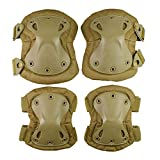 Action Union Professional Tactical Combat Knee and Elbow Protective Pads Sets Advanced Tactical Gear Set for Airsoft Paintball Hunting Army Skate Outdoor Sports (Tan)
