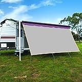 CAMWINGS RV Awning Privacy Screen Shade Panel Kit Sunblock Shade Drop 8 x 16ft, Grey