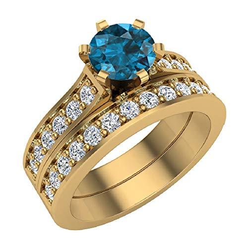 Anillo de boda de diamante azul de 1,25 quilates con banda de boda de oro de 14 quilates