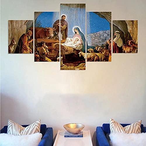 Anvaong Pinturas Artísticas 150×80Cm Framed Nacimiento De Jesús Cristiano