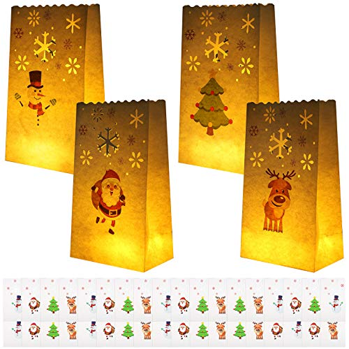 URATOT 36 Pieces Christmas Luminaries Bags White Tealight Holders Flame Resistant Candle Bags Luminary Lantern Bags with 4 Different Designs for Christmas, Outdoor, Party Decoration