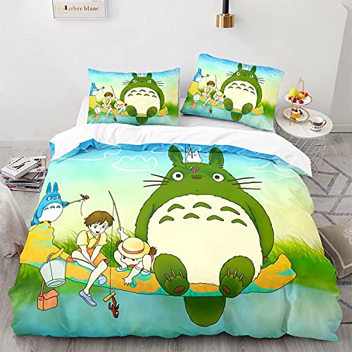 Satauly Anime Totoro Bedding Set Twin Size 2 Pieces Boys Girls Comforter Cover Sets Kids Cartoon Quilt Cover My Neighbor Totoro Bed Sets 1 Duvet Cover 1 Pillowcase, No Comforter Included