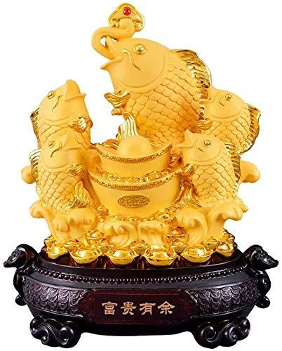FLYAND Accesorios decorativos adornos de gran tamaño feng shui riqueza peces de colores afortunado peces estatua figurilla oficina sala de estar decoración mejor regalo para la apertura de negocios fe