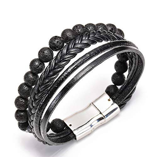 Wacelethh Lava Armband Zen-Buddhismus Armreif Energietherapie Yoga-Armband Chakra Healing Balance Buddha-Armband,C