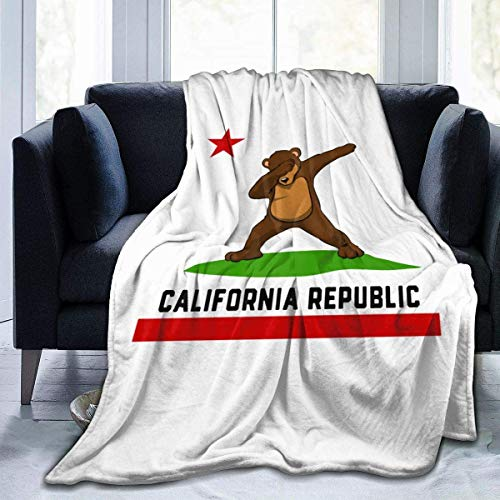vipsung Ultra-Soft Micro Fleece Blanket California Republic Flag Dabbing Bear Warm Blanket Lightweight Microfiber Bed Blanket for Sofa Couch - All Season Premium Bed Blanket 60'' x50