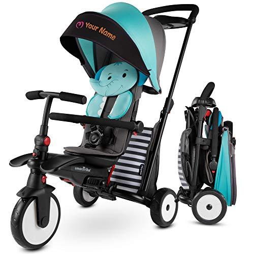 smarTrike STR5 Falt-Kleinkinder-Dreirad für 1,2,3 Jahre alt mit kostenloser, individueller Stickerei - 7 in 1 Mehrstufen-Dreirad (Blau)