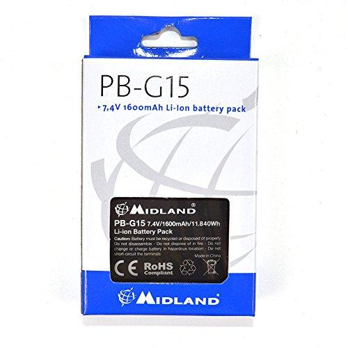 Midland PB-G15 - Batería recargable para walkie talkie (Li-Ion, 1600 mAh) color negro