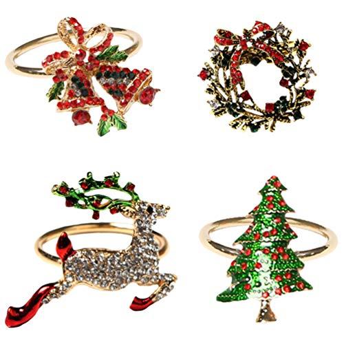 ABOOFAN 1 Set Weihnachten Serviettenringe Diamant Strass Serviette Schnalle Weihnachtsbaum Kranz Rentier Glocke Ringe Urlaub Tischdekoration Party Gefälligkeiten