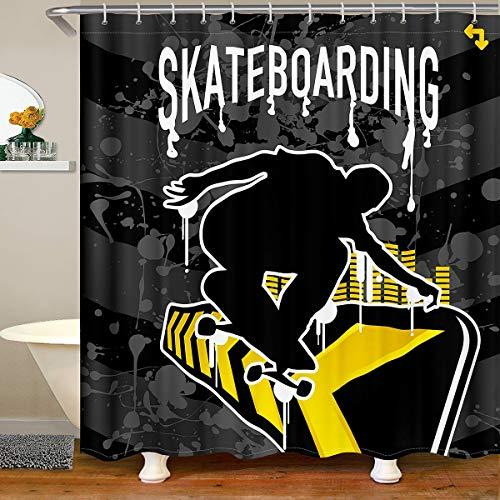 Loussiesd Skateboard Stoff Duschvorhang 180x180cm Extremsport Wasserdichtes Duschvorhang Textil Jungen Jugend Schwarz Silhouetten Accessoires Mit Haken Moderne Mode