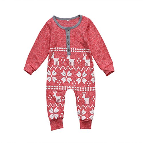 Felcia Christmas Baby Kids Boys Romper Jumpsuit Long Sleeve Round Neck Long Pants with Buttons Elk Patterns (Red, 80cm)