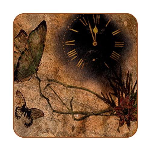 Juego de 6 Relojes Mariposas Flor Retro Marrón Antideslizante Estera de la Taza Almohadillas de protección de Mesa Cuadrada Fácil de Limpiar Posavasos para Bebidas