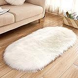 Baijinbai Alfombra suave para salón, piel sintética, lana, ovalada, para dormitorio, alfombra mullida, para niños, chorros, alfombra de juegos, decoración del hogar (blanco, 40 x 60 cm)