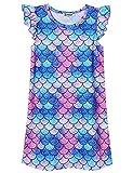Blue Mermaid Nightgown for Girls 8 9 Nightdress Summer Sleep Cotton Dresses 8 9