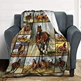 LORBUK Horse Plush Fleece Throw Blanket,Ultra-Soft Cozy Warm Blankets Warm Bed Throws for Couch Sofa and Chair,50'X60'for Teens