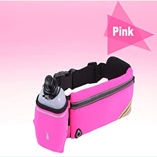 FLAUU Running Pockets, Waterproof, Night Reflection, Headphone Jack, Kettle Bag, Suitable for Men and Women,Pink