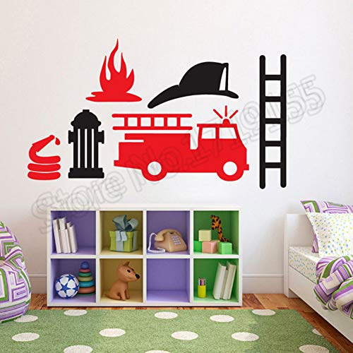 Cartoon brandweerauto motor auto vinyl wandtattoo afneembare cartoon stickers voor jongens kamer speciaal design Home Decoration