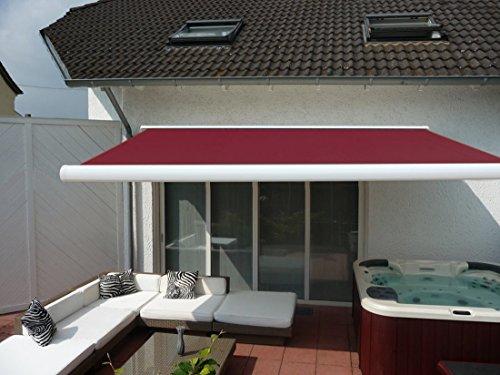 Prime Tech eléctrico de toldo/400 x 300 cm brazo articulado-toldo/carcasa color blanco/paño Bordeaux-rojo/060#