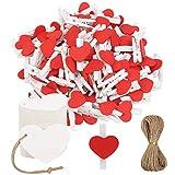 HAKOTOM 100 pinzas de madera con forma de corazón para fotos con 100 etiquetas de regalo de papel kraft, 10 metros, cuerda de yute para bodas, fiestas, manualidades, colgar fotos, álbumes de recortes