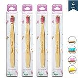 Humble Brush Cepillo de dientes de bambú para niños violeta ultra suave 4 piezas