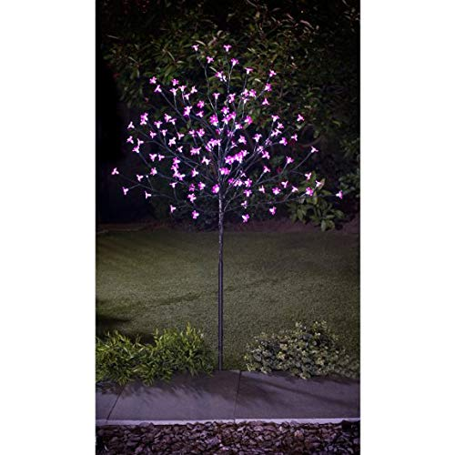 Ultra Bright 128 LED Solar Clear Plastic Blossom Tree Dual Function Static or Flashing Mode 4ft - Pink