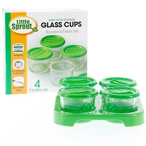 Glass Baby Food Storage Containers (4 Pack) - 2oz Jars with Storage Tray & Dry-Erase Marker - Microwave, Freezer, Dishwasher Safe - Perfect for Homemade Babyfood, Breast Milk and More - BPA Free