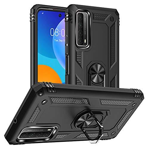 Yiakeng Funda HuaweiPSmart2021 New Edition Carcasa con, Silicona Armor Case con Kickstand para HuaweiPSmart2021 (Negro)