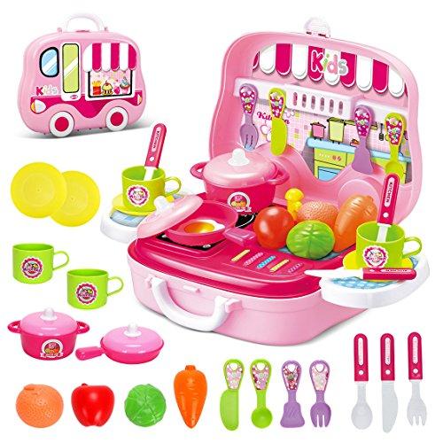 Dreamon Set Utensilios de Mini Cocina de Juguete Incluye Múltiples Accesorios para Niños de 3 Años de Edad (Rosa)