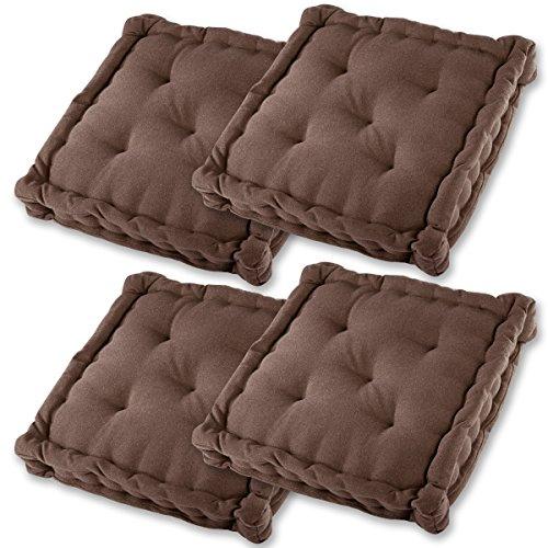 Gräfenstayn® Set de 4 Cojines, Cojines para Silla de 40 x 40 x 8 cm para Interior y Exterior de 100% algodón cojín Acolchado/cojín para el Suelo (Marrón)