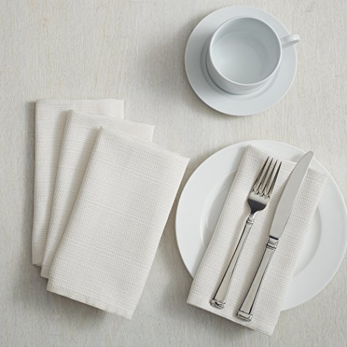 "Benson Mills Textured Fabric Napkins (18"" x 18"" Napkins Set of 4, White)"