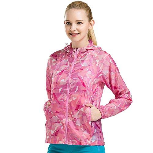 Chuangyi vêtements de Peau crème Solaire pour Les Hommes et Les Femmes imperméable à l'eau en Plein air l'été de Voyage Protection Solaire Manteau en Peau UV vêtements Respirant, Female Rose Red, XL