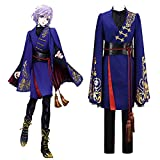 GGOODD Juego de Anime Twisted Wonderland Vil Kimono Cosplay Disfraz Fiesta de Halloween Unisex Azul Abrigo y Pantalón Traje de Combate,XL