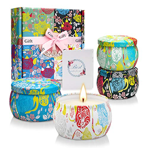 Scented Candles Gift Sets, Soy Wax 4.4 oz Portable Travel Tin Candles Women Birthday Mothers Day Gift Stress Relief Sweet Fragrance Home Aromatherapy Candle Set 4 Pack
