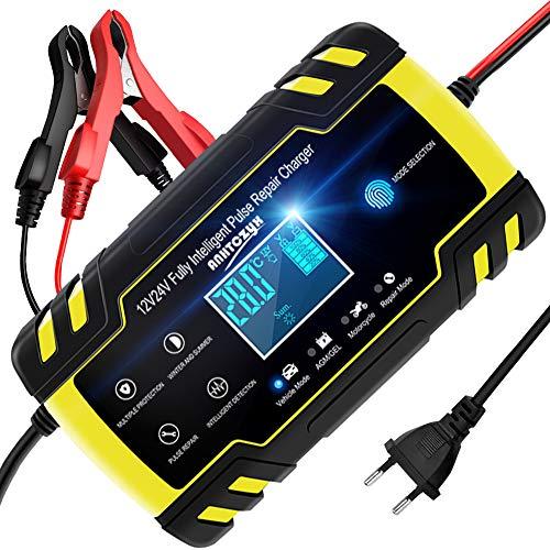 NWOUIIAY Chargeur de Batterie Intelligent Portable 8A 12V/4A 24V LCD Écran avec Protections...