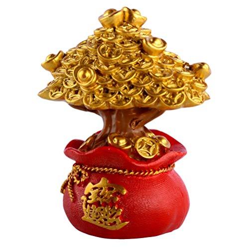 Cabilock Chino Feng Shui Árbol de Dinero Lingote de Oro Árbol de Dinero Feng Shui Árbol Bonsai para La Fortuna Dinero Buena Suerte Riqueza Prosperidad Éxito Dorado