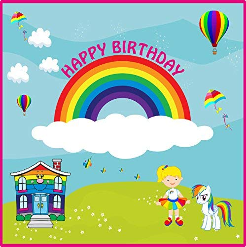Party_Hub Rainbow Theme First Brthday Party Banner for KDS Parties. Scene Setter for Brthday Parties on a Budget