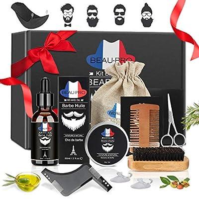 Beard Grooming Kit, 9-in-1 Beard Care Kit Gift for Men, Natural Beard Oil and Balm, Beard Styling Comb, Stainless Steel Scissors, Beard Comb and Brush, Shaving Apron,Travel Bag, Instruction Manual