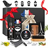 Kit de Soins de Barbe, Kit Soin Barbe 9 pièces Cadeau Idéal pour homme par BEAU-PRO, Huile à barbe naturel, Baume, Peigne à Barbe, ciseaux à acier inoxydable, Barbe peigne et brosse, Tablier de rasage