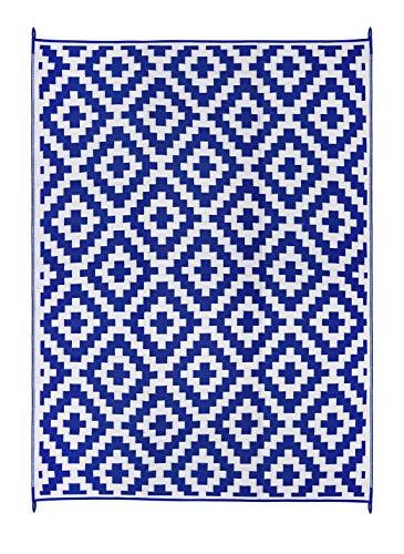 FH Home - Alfombra de Suelo de plástico Reciclado para Interiores y Exteriores, Ideal para la Playa, Camping, Viajes de Camping, picnics - Ligera - Plegable - Aztec - Blue & White (270 cm x 360 cm)