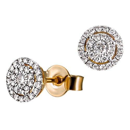 Goldmaid Damen-Ohrstecker Glamour 585 Gelbgold rhodiniert Diamant (0.32 ct) weiß Brillantschliff Ohrringe Schmuck