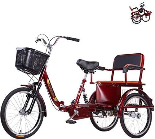 Triciclo para Adultos de Bicicleta de 3 Ruedas con Asiento Trasero, Canasta ampliada, Scooter Antiguo de propulsión Humana para Padres e Hijos, cómodo Triciclo con Horquilla amortiguadora de Cadena