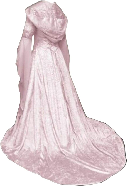 CBTLVSN Womens Retro Flare Sleeve Medieval Victorian Renaissance Hoodies Dress