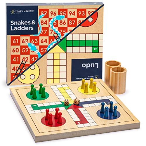 Yellow Mountain Imports 2-in-1 Reversible Wooden Snakes and Ladders, Ludo Game Set