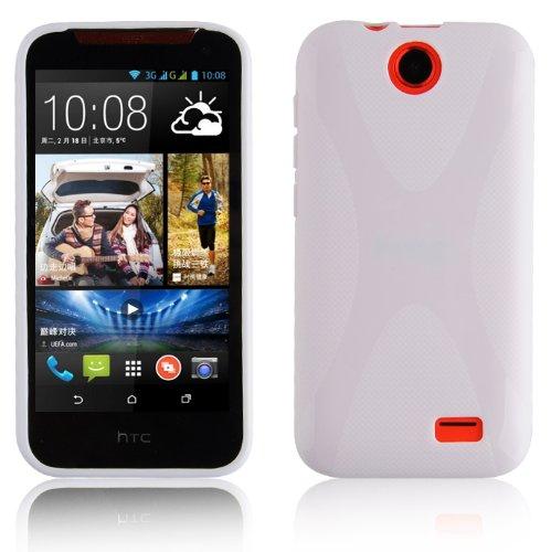 Cadorabo Hülle für HTC Desire 310 in Magnesium WEIß – Handyhülle aus flexiblem TPU Silikon – Silikonhülle Schutzhülle Ultra Slim Soft Back Cover Hülle Bumper