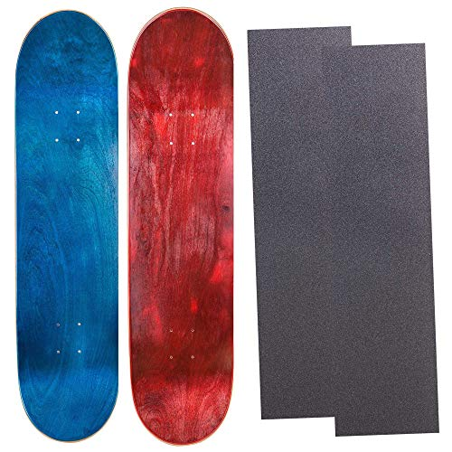 Cal 7 Blank Maple Skateboard Decks with Grip Tape| Two Pack (Blue, Red, 8.25 inch)