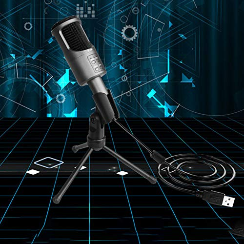 WERTAZ B Microphone à condensateur 3,5 mm Jack Study Studio Contrôle du volume PC Unidirectionnel Ordinateur de bureau Réduction du bruit Universel Ordinateur Portable Home Console de jeu